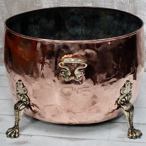 Victorian Copper & Brass Log Cauldron