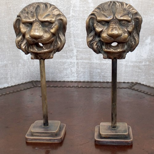 Pair of 19th Century Bronze Lion Masks on Stand