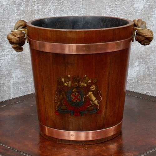 19th Century Naval Oak Fire Bucket With Royal Cres