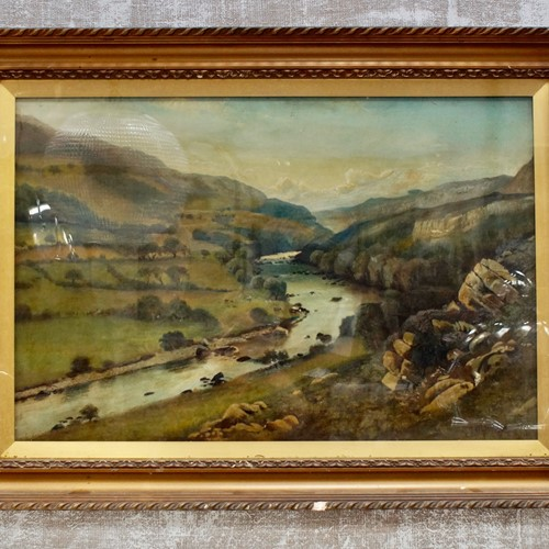 West Highland Valley Oil on Canvas by J.H.Hewitt