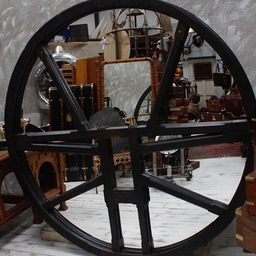 19th Century Large Gothic Bell Wheel Mirror
