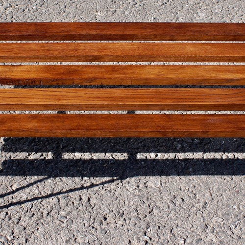 1960's Oak Slatted Hairpin Bench