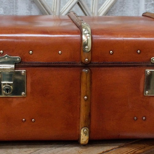 Vintage Brown Fibre Travel Trunk