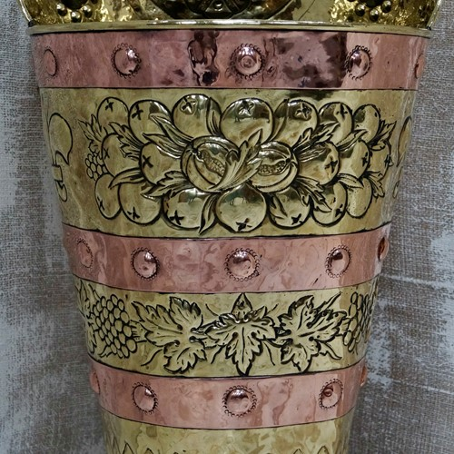 French Copper & Brass Grape Hod