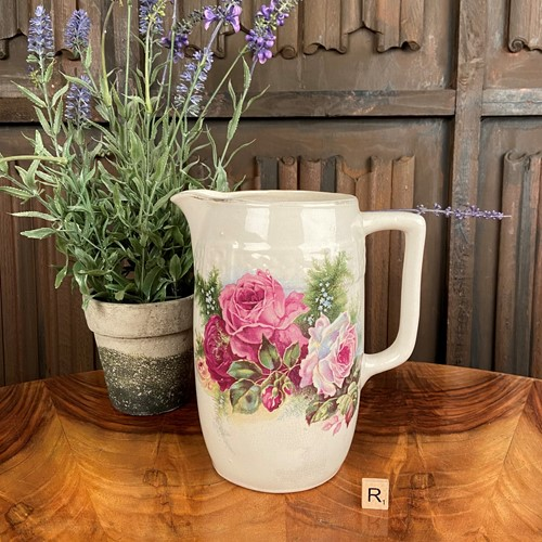 Stoneware Jug with Floral Decoration