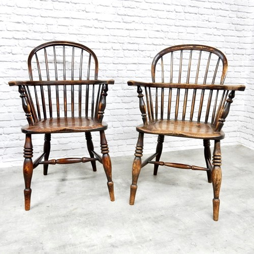 Pair of Antique Stickback Windsor Armchairs