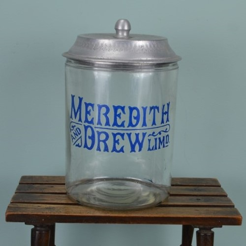 Antique Meredith & Drew Biscuit Jar