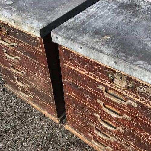Large Pair of Bank of Drawers with Zinc Tops