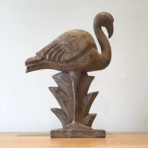 Hand Carved Wooden Flamingo