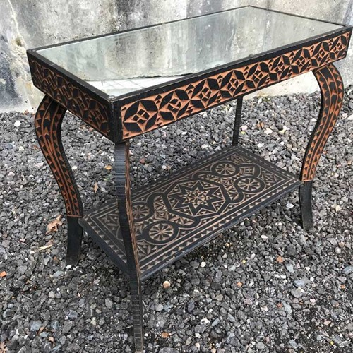 Hand Carved Mirrored Bed Side Table