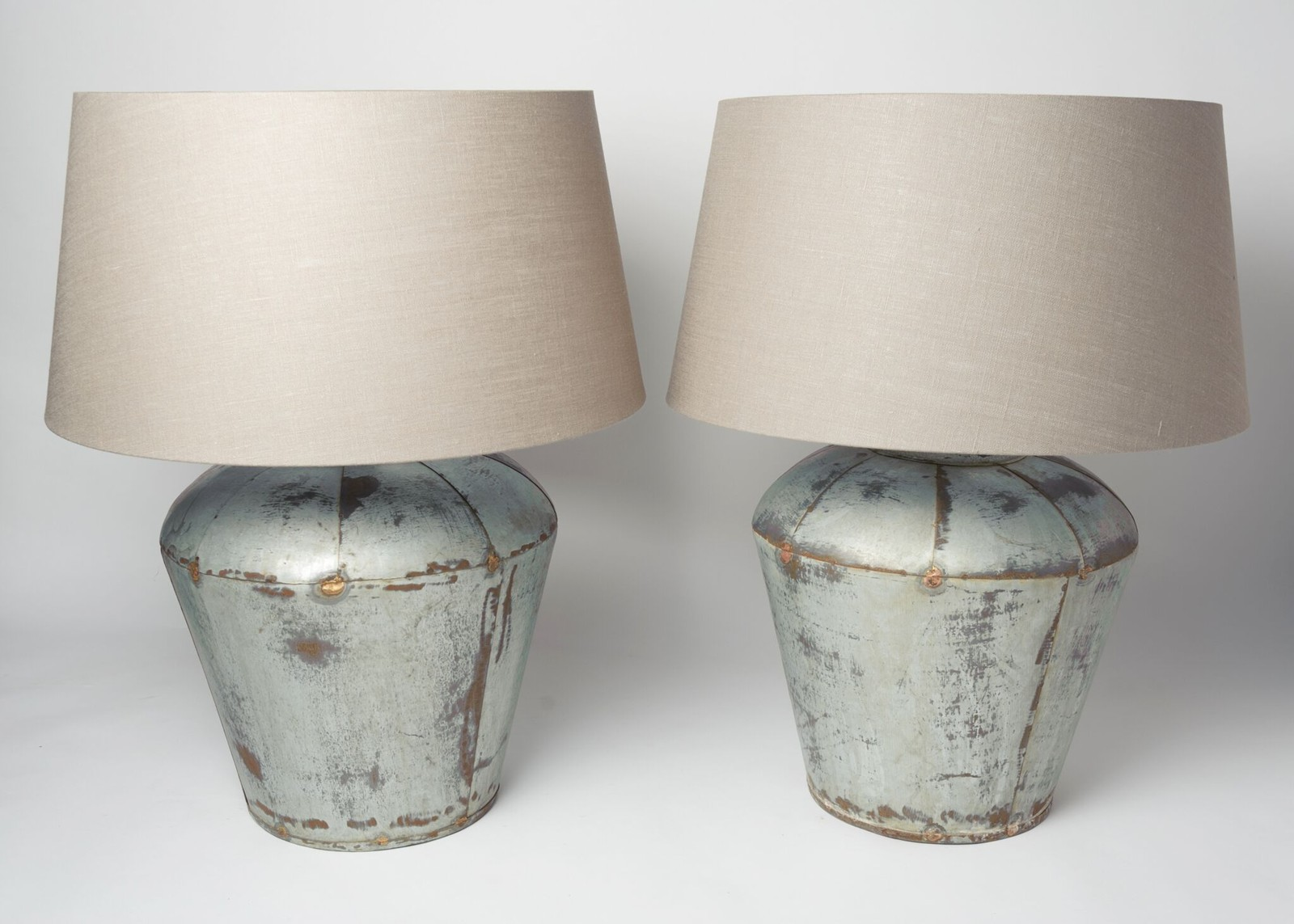 Beautiful pair large metal table lamps with linen the hoarde beautiful pair large metal table lamps with linen decorative antiques uk dajan18 mozeypictures Gallery