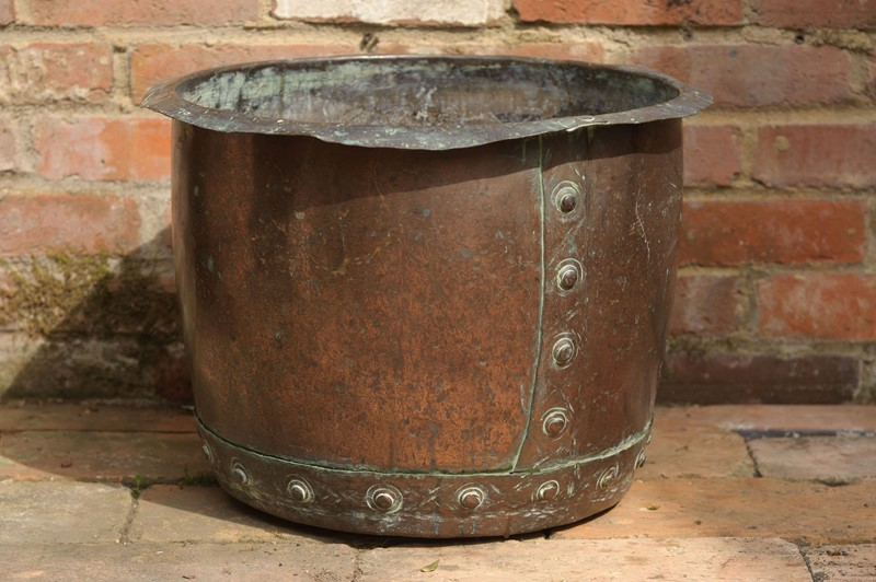 Antique Victorian Copper Pot w/ Rivets & verdigris-decorative-antiques-uk-dajune20-31-main-637272116780134354.jpg