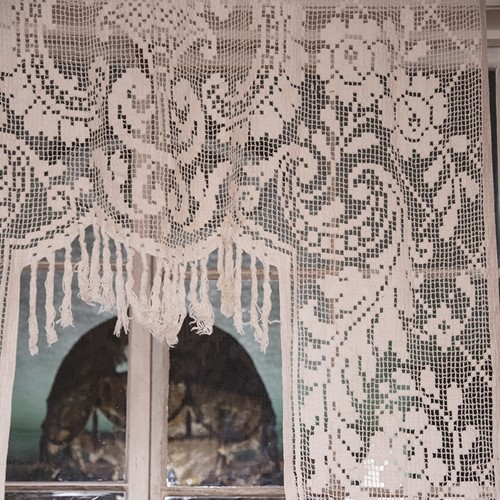 Antique French Filet Lace Chateau Curtain