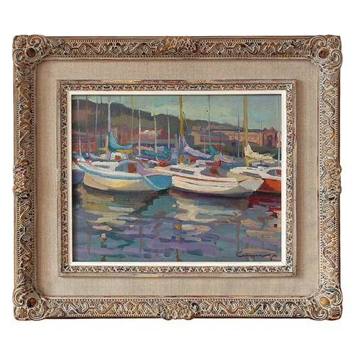 Spanish School, Marina Scene With Yachts, Oil