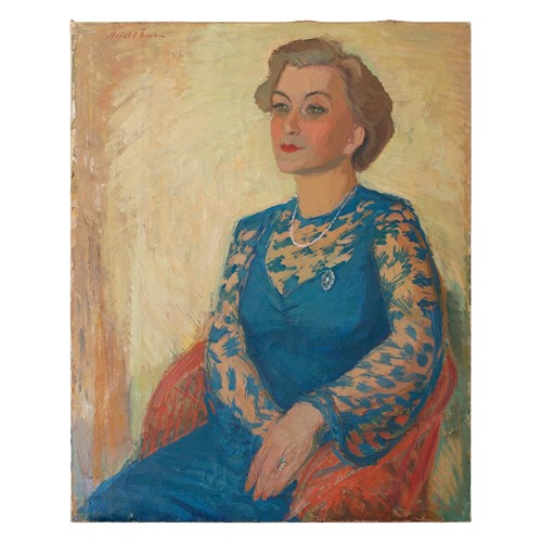 Harald Oman, Portrait Of A Lady In Blue