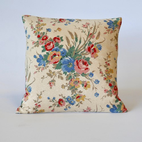 "Vintage 1930's Chintz Satin 18"" Cushion"