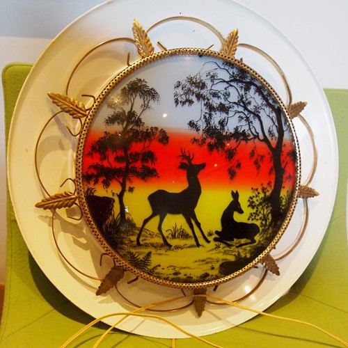 "Vintage painted tinware ""Bambi"" wall light"