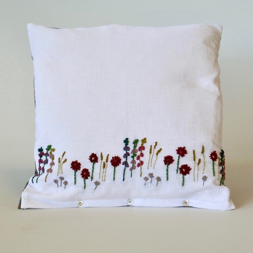 "Hand Embroidery Linen 18"" Cushion Collier Campbell"