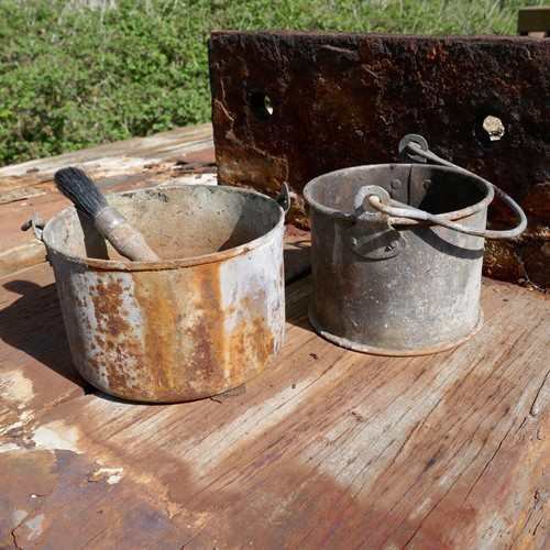 Pair of Galvanised Paint Kettles