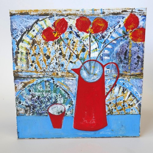 Red Jug & Poppies Newlyn School Still Life Signed