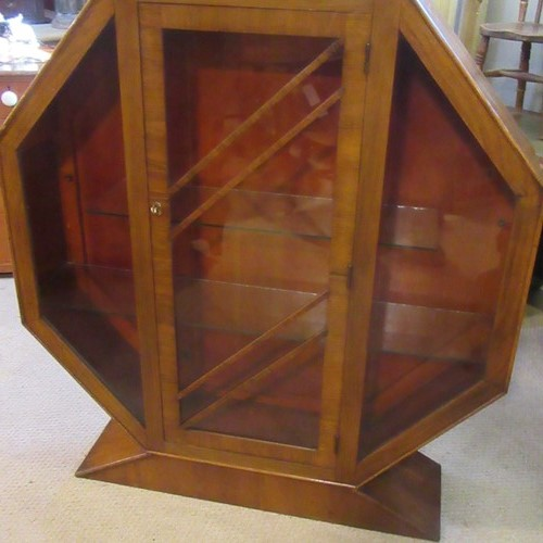 Antique Art Deco Hexagonal Walnut Display Cabinet