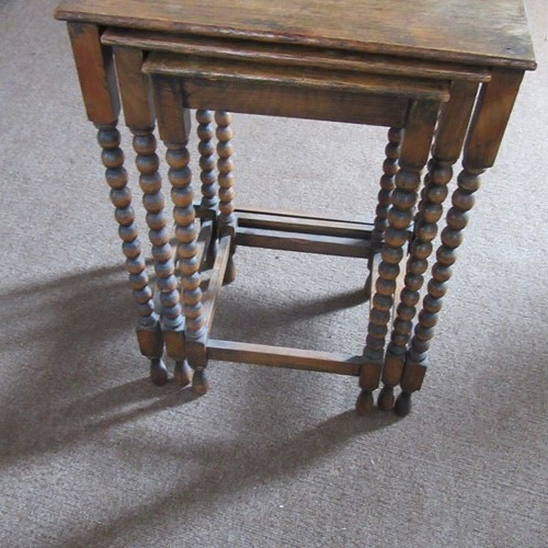 Antique Nest of Three Bobbine Leg Tables