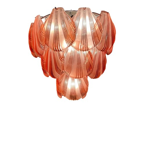 Vintage Maroon Shell Chandelier