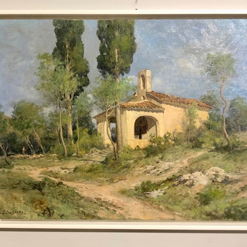 Painting F. DESAIRE.  Chapel in French Landscape.
