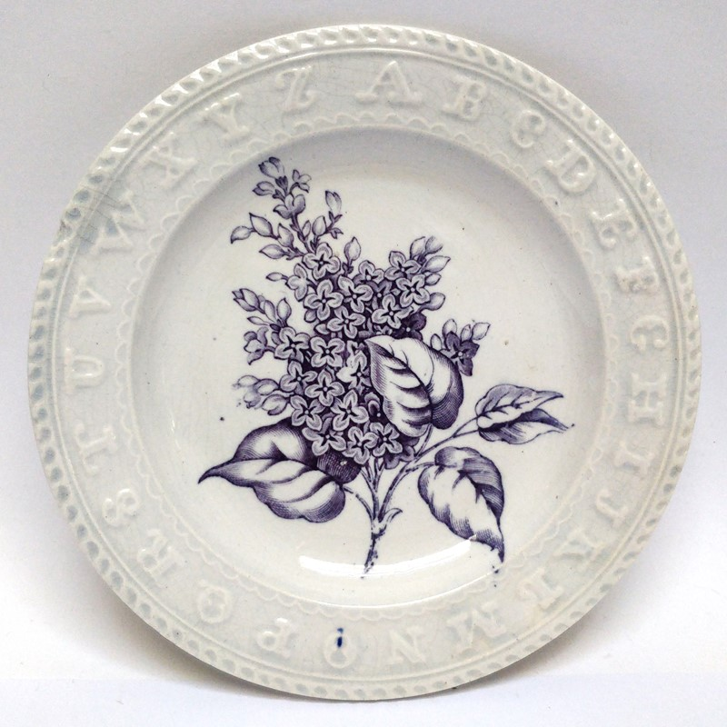 19thC childrens teaching plate with Lilac sprig-general-store-no-2-1-main-637012102841150262.jpg