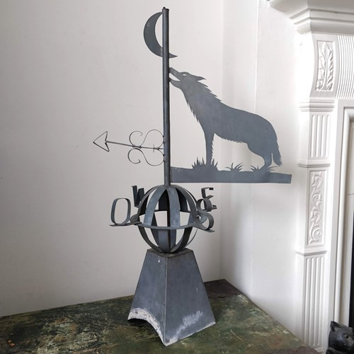 French Wolf & moon weather vane