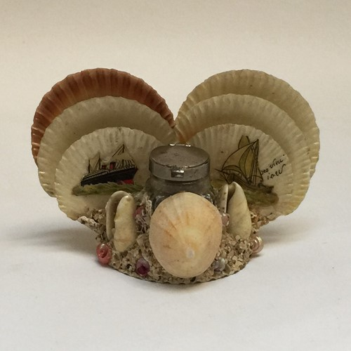 Isle Of Wight Souvenir Shell Inkwell/ Letter Rack
