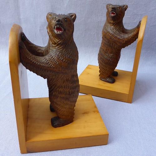 Pair of mid 20thC Black Forest bear bookends
