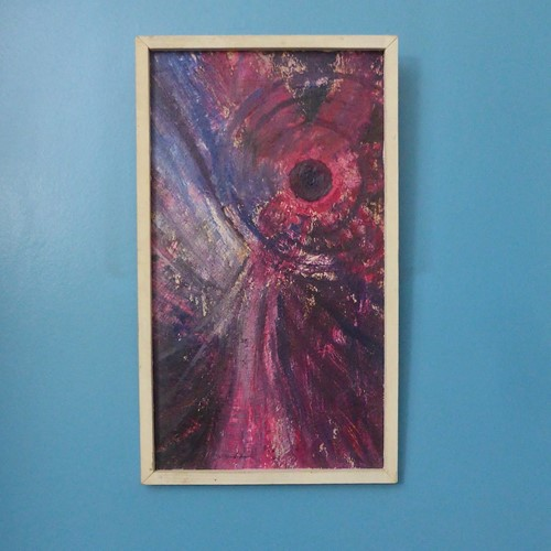 Framed Abstract Oil on Board Painting 1969