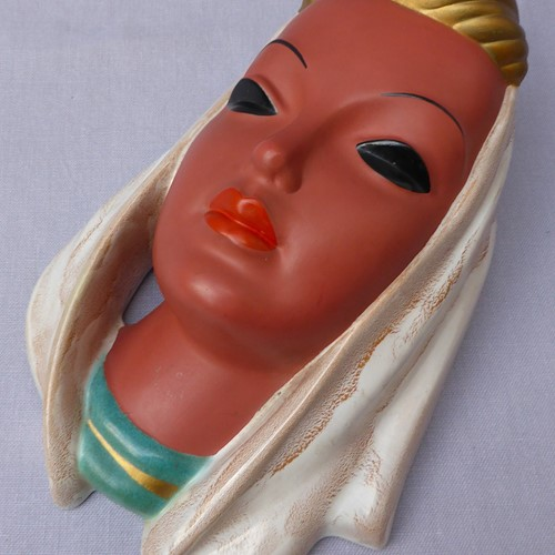 1950s Goldscheider wall mask by Adolf Prischl