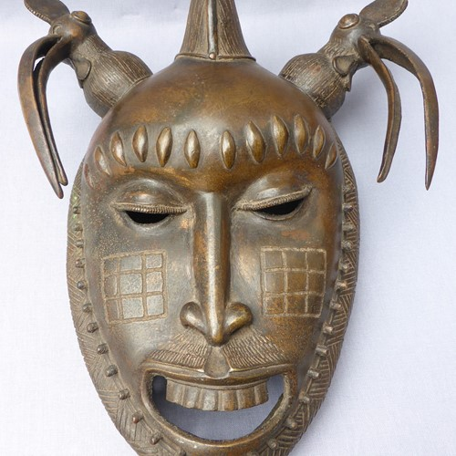 Bronze Baoule ceremonial portrait mask