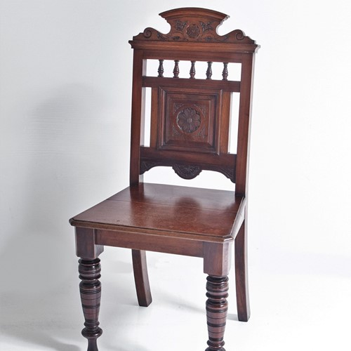 Aesthetic movement mahogany hall chair
