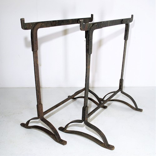 A Pair of Victorian Wrought Iron Rivetted Trestles