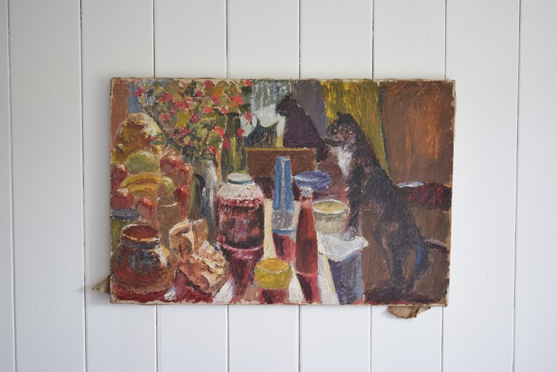 Black Cat Overlooking a Laid Table Oil on Canvas-grumbla-lane-dsc-1691-main-637355000091470521.jpeg