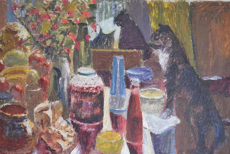 Black Cat Overlooking a Laid Table Oil on Canvas-grumbla-lane-dsc-1694-main-637355000711507678.jpeg