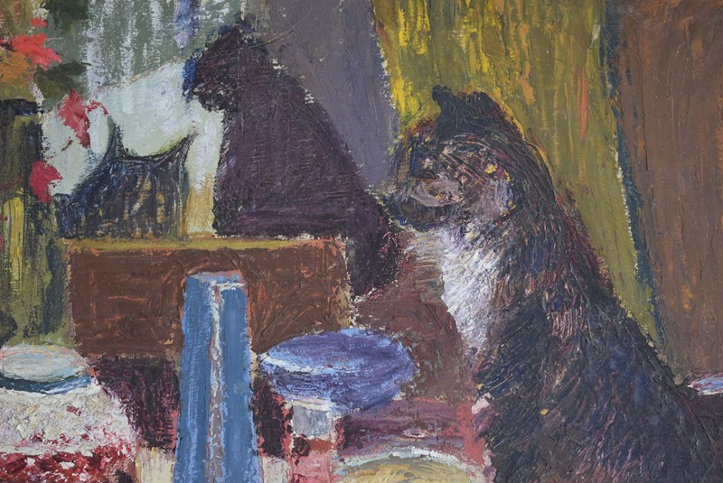 Black Cat Overlooking a Laid Table Oil on Canvas-grumbla-lane-dsc-1695-main-637355000726663840.jpeg