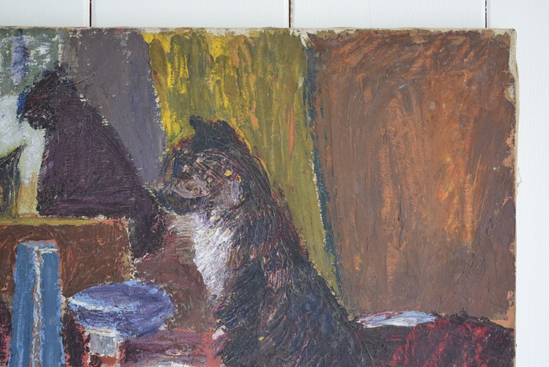 Black Cat Overlooking a Laid Table Oil on Canvas-grumbla-lane-dsc-1701-main-637355000804164070.jpeg
