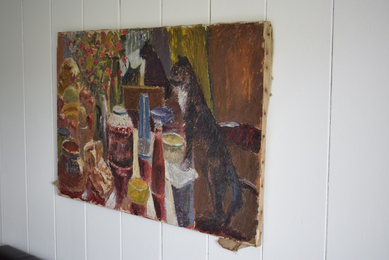 Black Cat Overlooking a Laid Table Oil on Canvas-grumbla-lane-dsc-1704-main-637355000819632538.jpeg