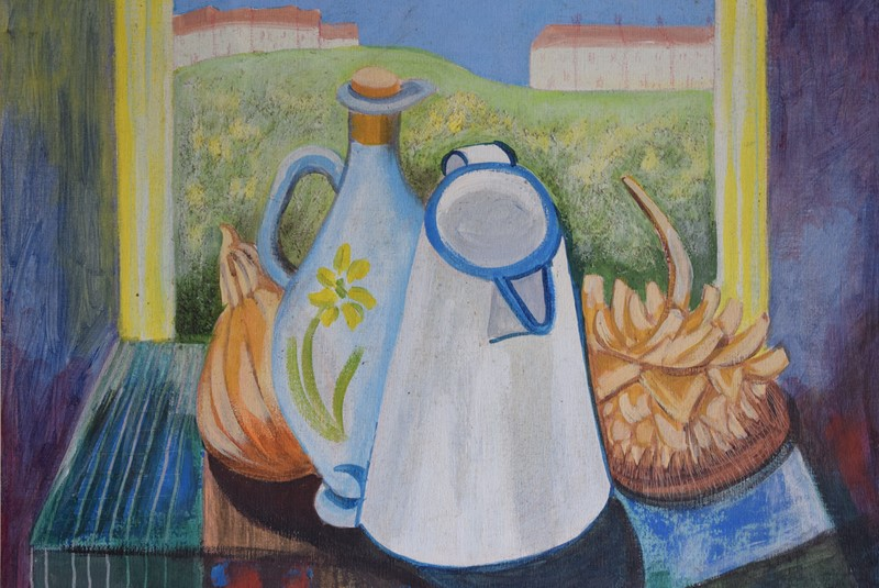 20th Century Still Life Oil on Board Enamel Jug-grumbla-lane-dsc-1716-main-637356730225627224.jpeg