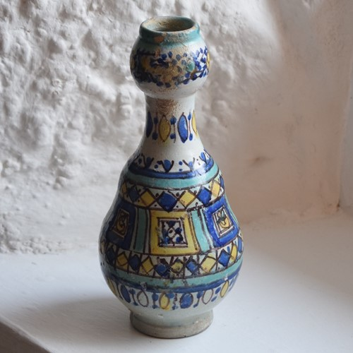 Tin Glaze Gourd Shaped Hand painted Vase