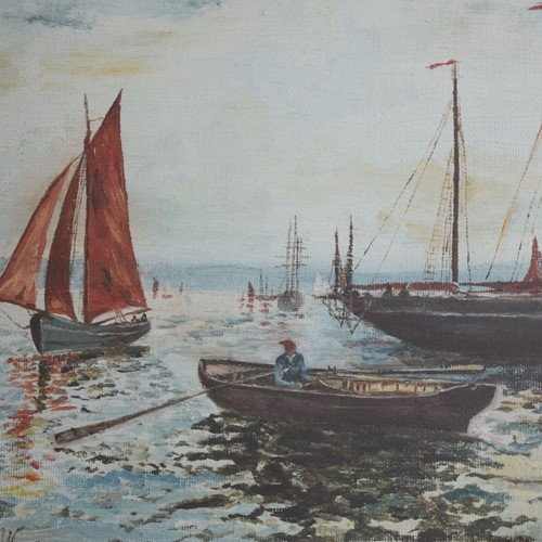Oil Painting Plymouth Fishing Boats