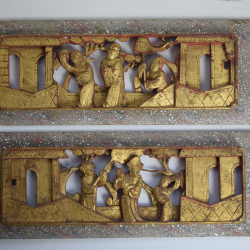 Antique Chinese Carved Wood Lacquered Gilt Panels