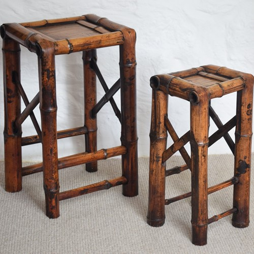 Bamboo Side Tables Set of Two