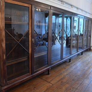 18 foot wide oak display cabinet