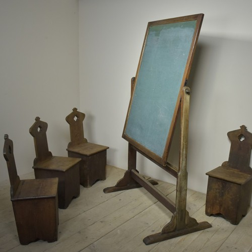 Antique Victorian School Blackboard