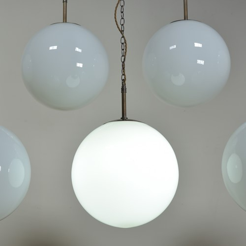 Large Antique Opaline  Globe Pendant Lights x 7